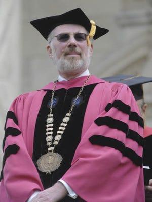 University President Donald Farish looks on during the Rowan University Commencement Ceremony. Friday, May 13, 2011.