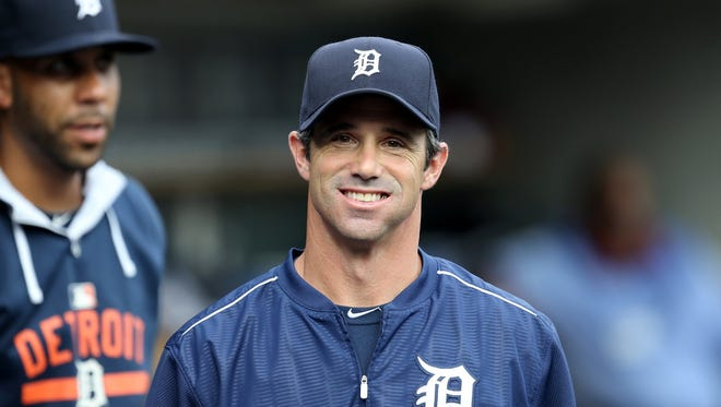 The Detroit Tigers manager Brad Ausmus in the dugout before action the Baltimore Orioles on Friday, July 17, 2015 at Comerica Park in Detroit Michigan.