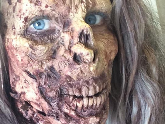 Meredith Richardson is all zombified for stunt work