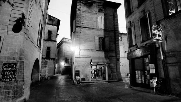 The old town of Uzès at night.