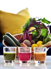 Juiced vegetables and fruit are healthy and delicious.