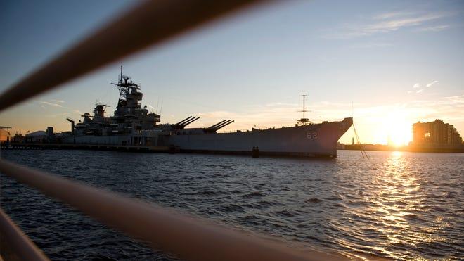 Battleship NJ at sunset
