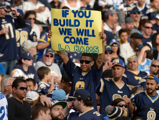 A hopeful Rams fan pleads for a stadium in Los Angeles