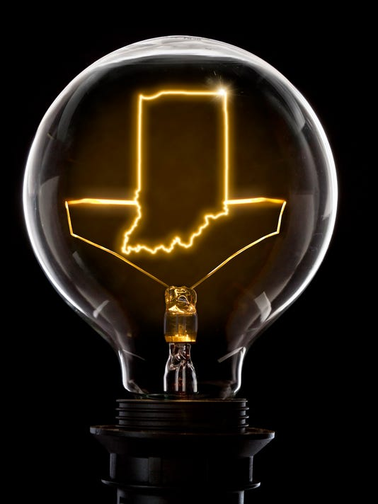 Lightbulb with a glowing wire in the shape of Indiana (series)
