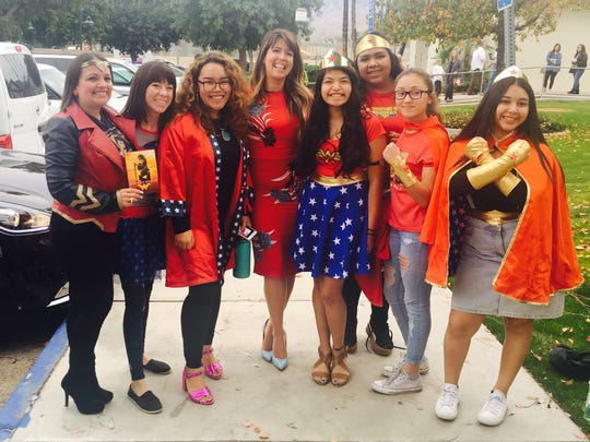 "Two staff members and five students from the Desert Sands Unified School District meet ""Wonder Woman"" director Patty Jenkins (center)."