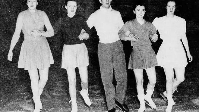Billie Grimm, Mary Reimann, Norman Ferrell, Betty Lou Edwards and Patricia Van de Coevering participate in a group skate at the Salem Ice Arena in a photo published in the Dec. 23, 1944, Capital Journal.