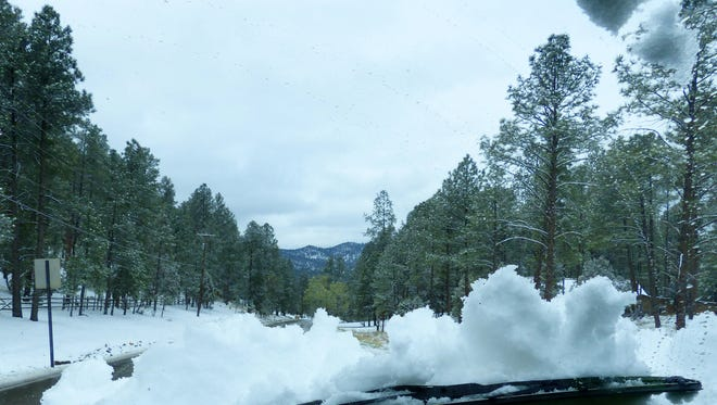 Although a light snow was forecast, some areas of Lincoln County were hit harder than others with what may be winter's last hurrah. Ruidoso received more than two inches overnight and for a time from Swiss Chalet to Angus Hill, near white-out conditions existed.