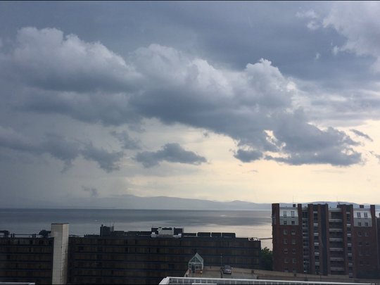 A thunderstorm approaches Burlington from the southwest Monday afternoon, June 18, 2018.
