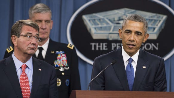 President Obama speaks alongside Secretary of Defense