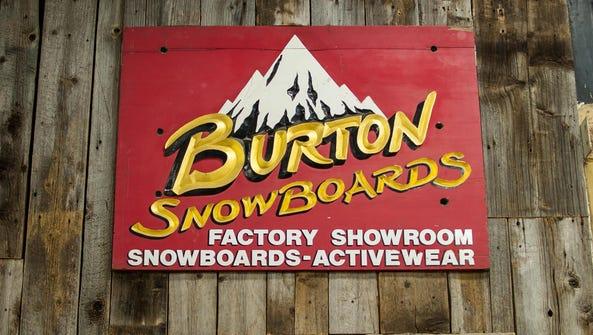 Burton snowboards' original sign on display at the