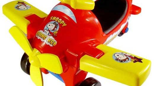 The LaRose Industries Peanuts Flying Ace Ride-On toy is being recalled because the toy's blue hubcaps can detach from the wheel's axle, posing a choking hazard to young children.