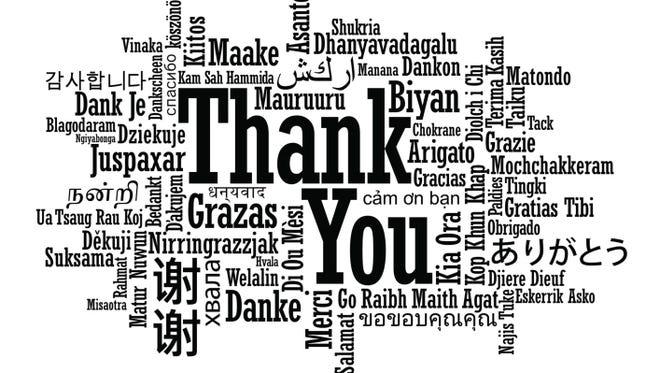 Saying thanks.