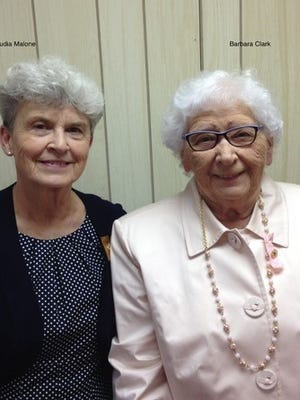 Claudia Malone (right) and Barbara Clark (left) were honored by the Millersport Eastern Star for their respective years of service.  Claudia received her 50-year pin and Barbara her 60-year pin.  Not pictured, Jane Hazlett received her 50-year pin.