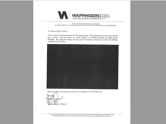 A heavily redacted copy of a letter of reference Wappingers