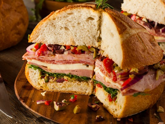 Cajun Muffaletta Sandwich with Meat Olives and Cheese