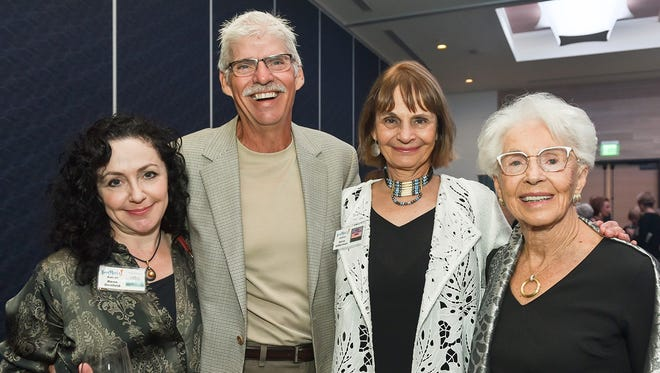 Author Rene Denfeld, left, Wayne Hundt, author Anne Hillerman, and Helen Blake at A Literary Affair on March 2 at the Hutchinson Shores Resort & Spa in Jensen Beach.