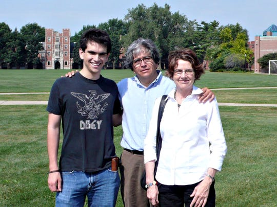 "The late Armando ""Mando"" Montano with his parents, Mario Montano and Diane Alters, pose for a family portrait at Grinnell College at the beginning of Armando's career."