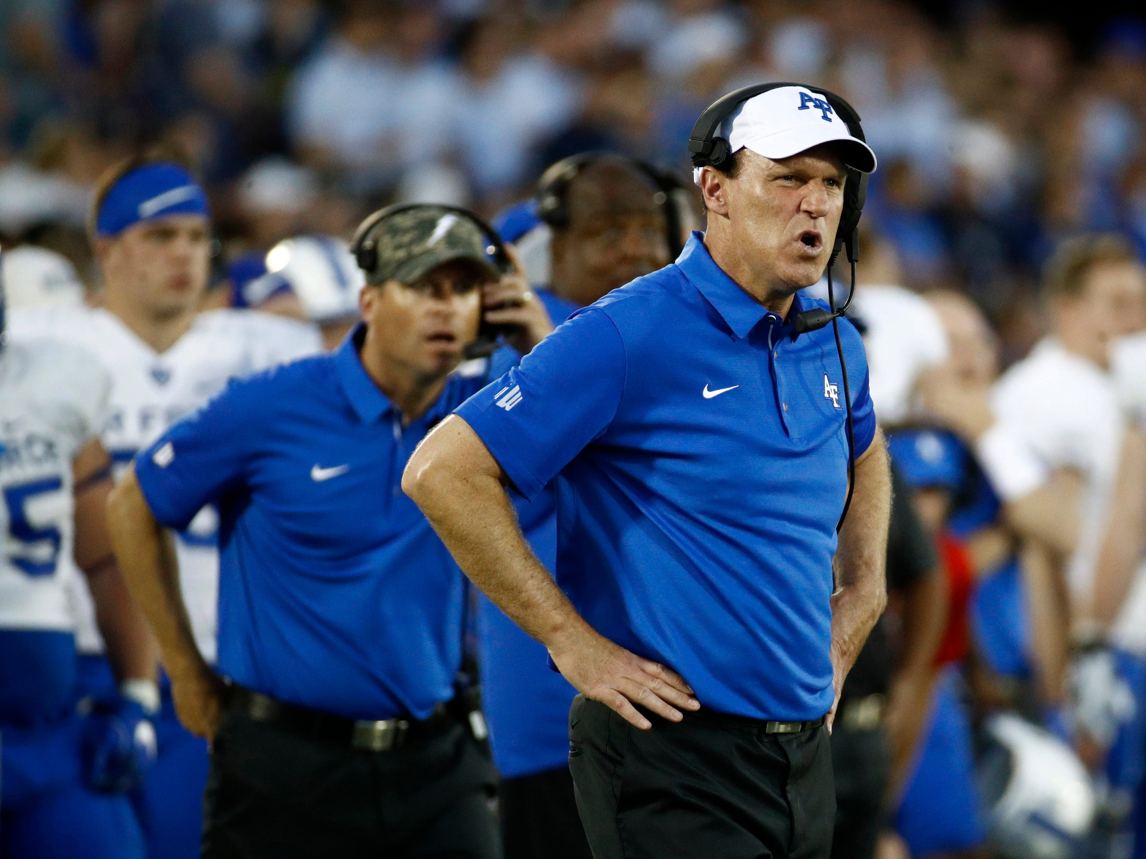 Air Force head coach Troy Calhoun watches the second half of an NCAA college football game against Navy in Annapolis, Md., Saturday, Oct. 7, 2017. Navy won 48-45. (AP Photo/Patrick Semansky)
