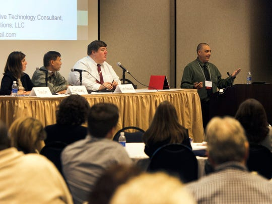 The New Jersey Conference on Disability and Employment was held at Raritan Valley Community College on Monday. Pictured, a panel on Assistive Technology in the Workplace, from left to right: Tracy Lee, CCC-SLP/ATP The Gramon Family of Schools; Fred Tchang, director, Assistive Technology Services; Curtis Edmonds, managing attorney, Disability Rights NJ; and moderator Mike Marotta, owner and assistive technology consultant, Inclusive Technology Solutions.