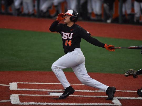 Oregon State first baseman KJ Harrison hit two, three-run homers against Vanderbilt in the Corvallis Super Regional.