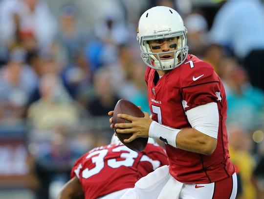 Aug 3, 2017; Canton, OH, USA; Arizona Cardinals quarterback