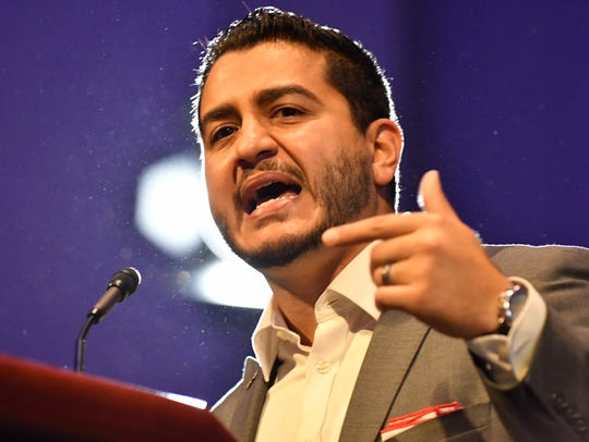 Abdul El-Sayed speaks at a rally Sunday, Aug. 5, at