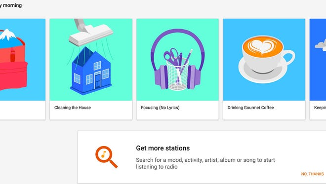 Google Play Music has 1000s of free music playlists based on your interests and moods.