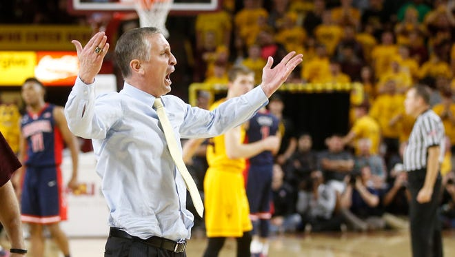Arizona State head basketball coach Bobby Hurley gets ejected during the second half of a game against Arizona at Wells Fargo Arena in Tempe on Jan. 3.