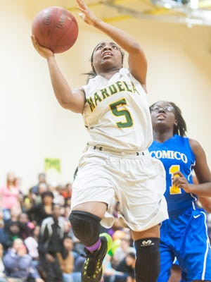 PLAY OF THE WEEK: Mardela guard Demyra Selby hits her 2,000th point in the second quarter against Wicomico on Thursday. She entered the game needing 21 points, which she accomplished late in the second quarter.