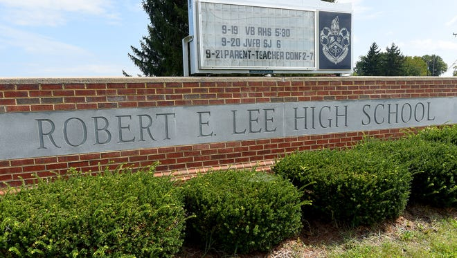 A sign marks the location of Robert E. Lee High School at 1200 N Coalter Street in Staunton, Va.