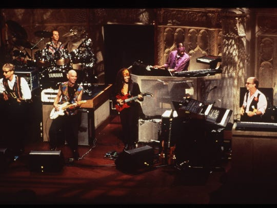 """Paul Shaffer, far right, leads the CBS Orchestra on the set of """"The Late Show"""" in the mid 1990s."""