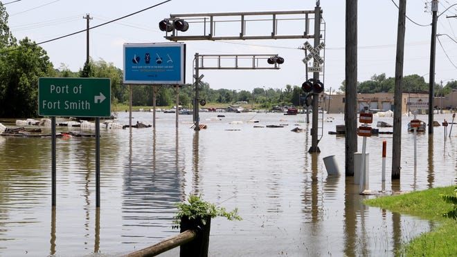 A railroad crossing near the Port of Fort Smith is seen during the Arkansas RIver flood of May and June 2019.