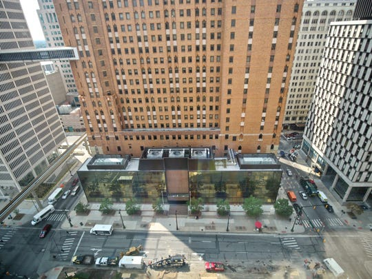511 Woodward Avenue, a vacant former bank building is seen from One Detroit Center on Thursday, Aug. 27, 2015, in Detroit.