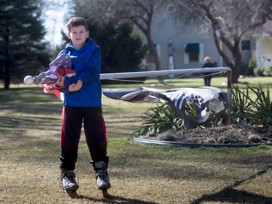 Noah Irvine, 10 of Chesterfield Township protects the