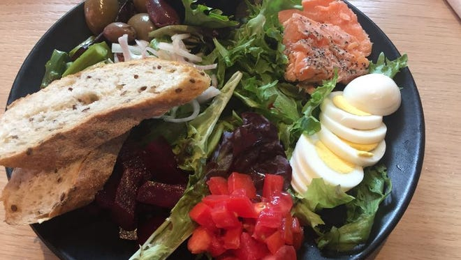 The smoked salmon Nicoise salad from Bottle and Basket in the Contemporary Arts Center.