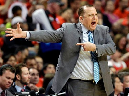 FILE - In this May 10, 2015, file photo, Chicago Bulls head coach Tom Thibodeau yells to his team during the first half of Game 4 in a second-round NBA basketball playoff series against the Cleveland Cavaliers in Chicago.  The Bulls fired Thibodeau on Thursday, May 28, 2015.