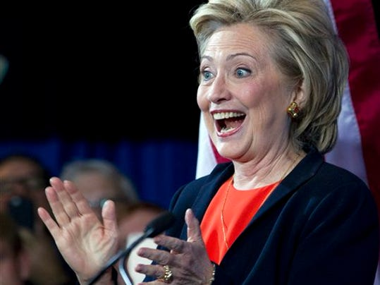 Democratic presidential candidate Hillary Rodham Clinton gestures as she speaks to the Human Rights Campaign in Washington, Saturday, Oct. 3, 2015.