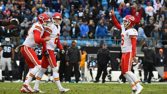 Kansas City Chiefs kicker Cairo Santos (5) celebrates after kicking the game winning field goal at the end of the fourth quarter. The Chiefs defeated the Panthers 20-17 at Bank of America Stadium.