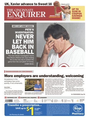 The Enquirer's front page on March 22, 2015. Headline: Pete's Investigator: Never Let Him Back in Baseball