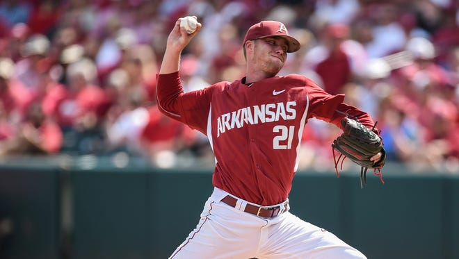 Arkansas' Trey Killian pitches during Game 1 of the Fayetteville Super Regional against Missouri State. The Mountain Home High grad believes his baseball journey now will enter the professional ranks after being a ninth-round draft pick of the Colorado Rockies.