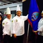 From left, Monica V. Duenas, Team Guam coach Chef Peter Duenas, Meskla chef Ernie Merfalen II and Guam Community College culinary standout Jasmine Nadres.