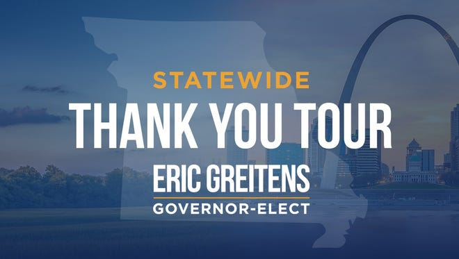 The Governor-Elect will kick off his statewide tour in Kirksville, and visit Springfield on Jan. 6.