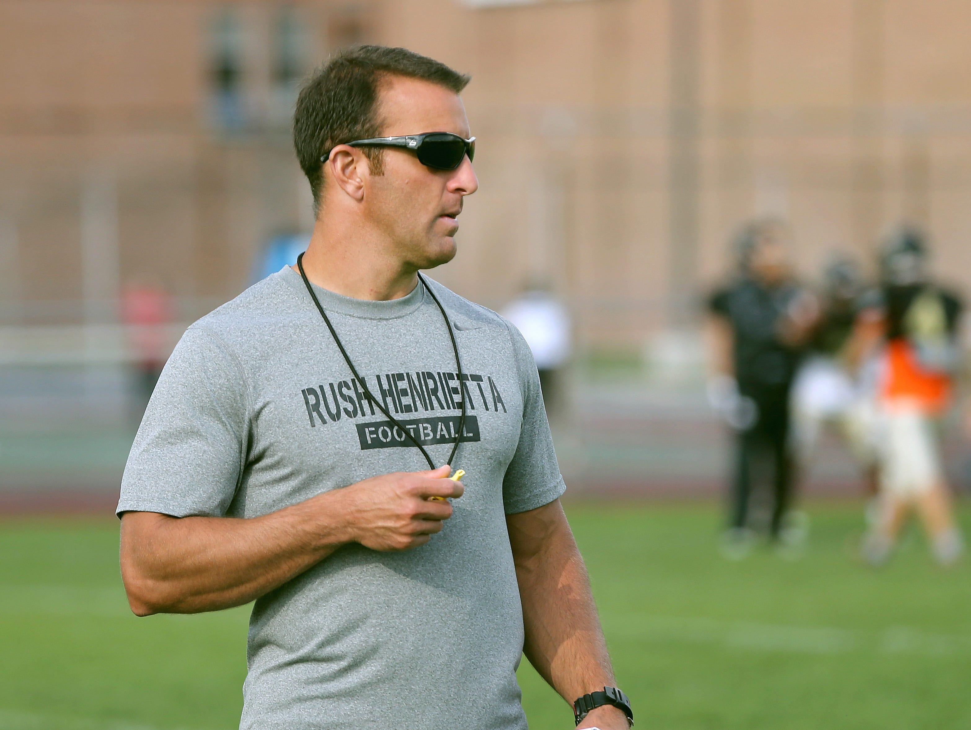 Rush-Henrietta head football coach Joe Montesano is the latest winner of the Coaches Who Care award.