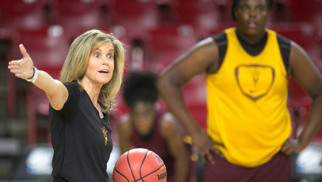 ASU women's basketball coach Charli Turner Thorne coaches during a practice before the first round of the NCAA women's basketball tournament at Wells Fargo Arena in Tempe on Friday, March 20, 2015. ASU plays Ohio in the first round on Saturday, March 21, 2015.