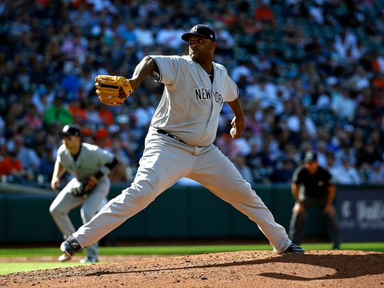 New York Yankees starting pitcher CC Sabathia throws to the Baltimore Orioles in the third inning of the first baseball game of a doubleheader, Monday, July 9, 2018, in Baltimore.