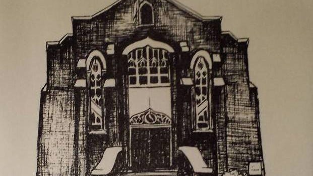 Artist's rendering of Broad Street UMC done in the 1980s by Ginger Meador, member of the church and local artist.