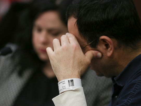Making little eye contact most of morning, Larry Nassar