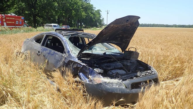 A 16-year-old Salina girl was taken to the hospital after her Scion rolled over Friday. A 14-year-old passenger wasn't injured.