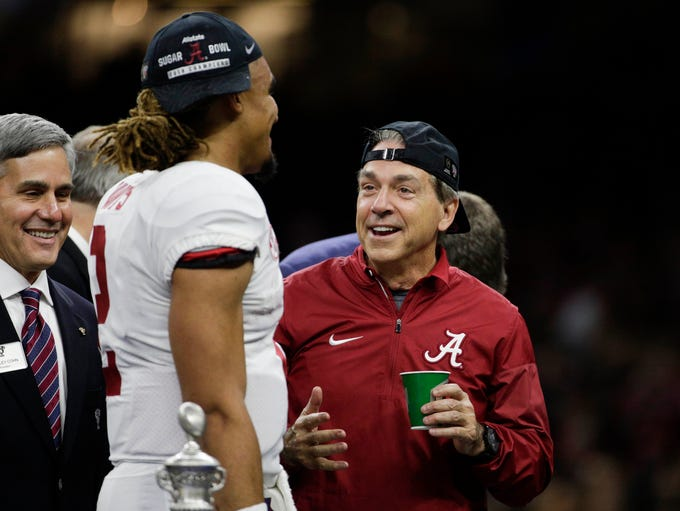 Alabama Crimson Tide head coach Nick Saban he talks