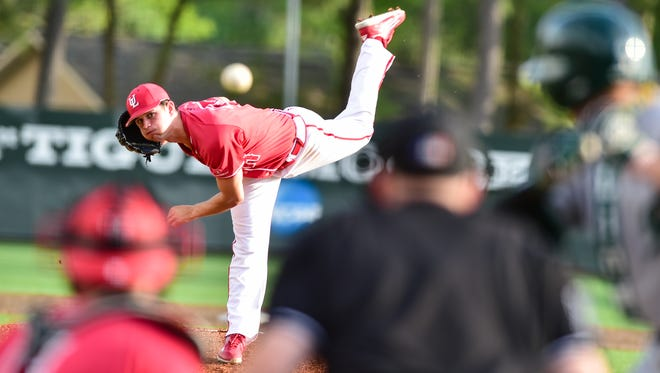 """UL's Gunner Leger """"warriored up"""" in the Cajuns game against South Alabama Friday night to take Game 1 of the series."""